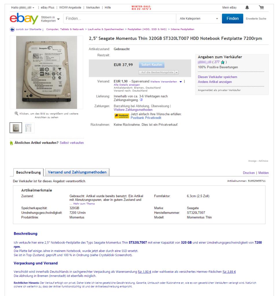 eBay fertiger Artikel