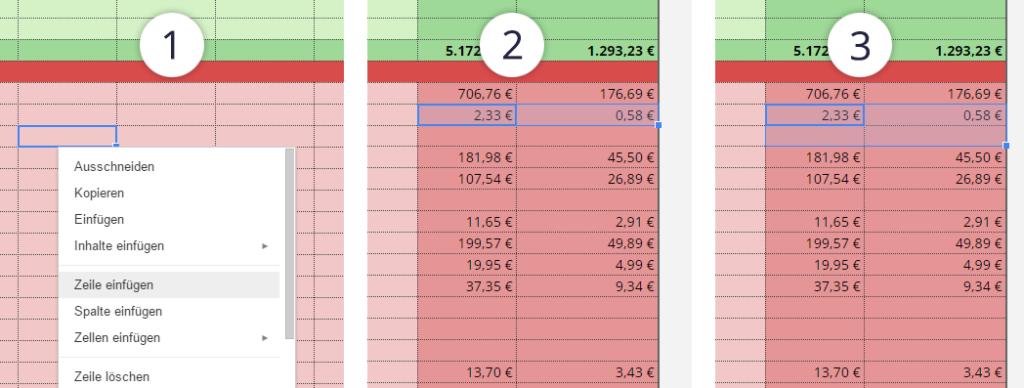 Google Tabellen eine neue Zeile einfügen und Formel übertragen