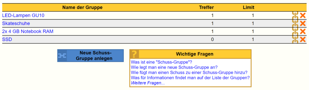 eBay Snip Schuss-Gruppen