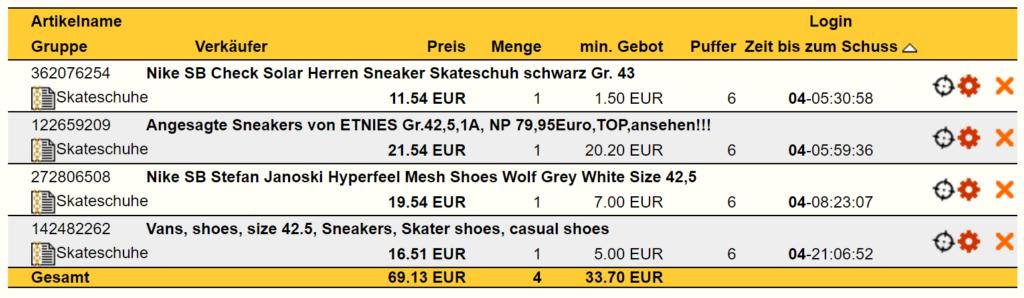 eBay Snip Skateschuhe Schuss-Gruppe