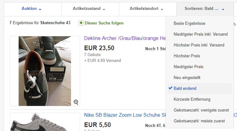 eBay Suche nur Auktionen bald endend